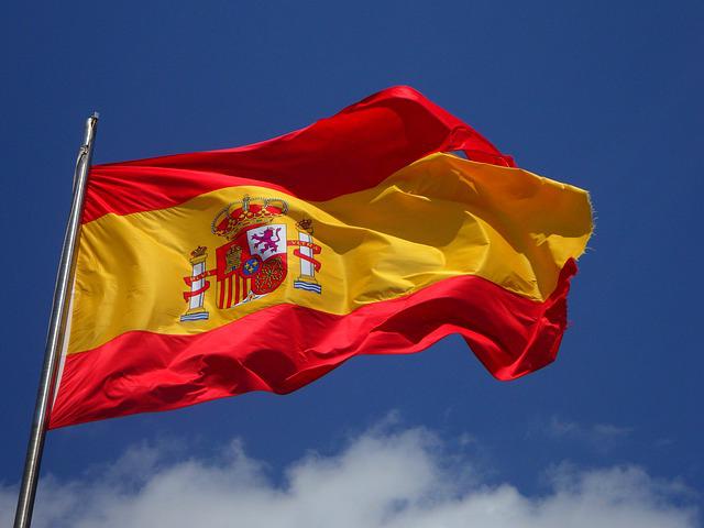 Spanische Flagge im Wind